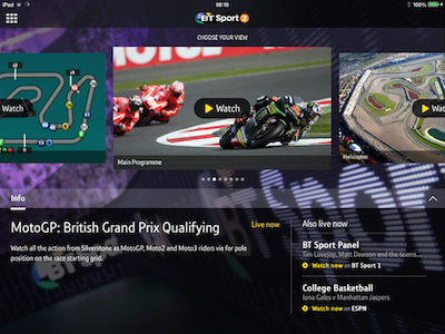 App update brings BT Sport customers exclusive MotoGP multi-screen coverage | SEENIT